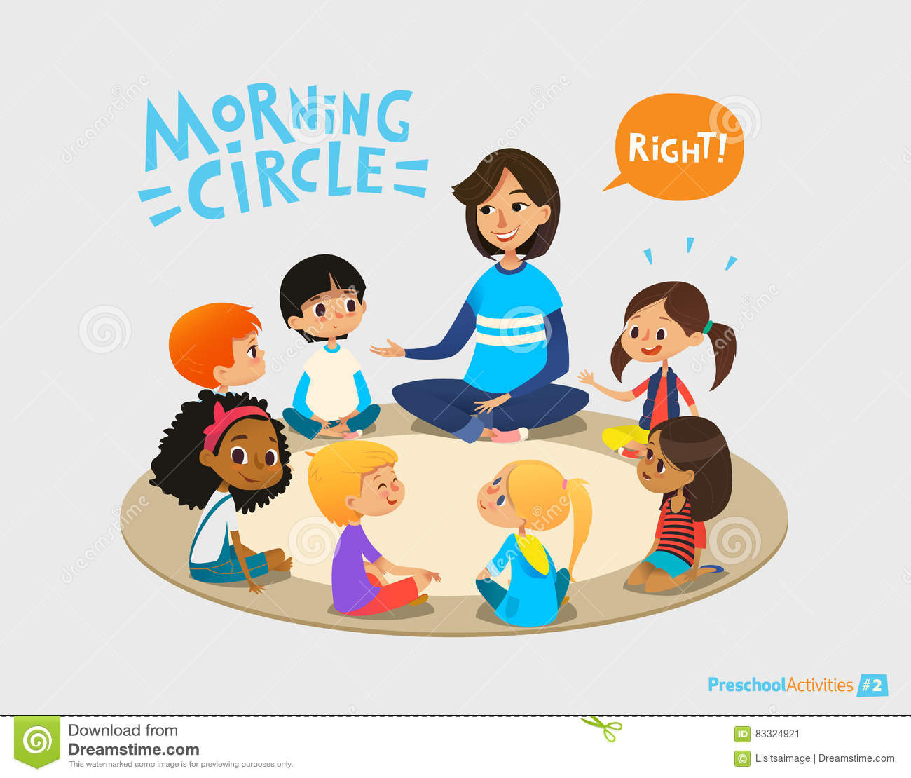 Smiling kindergarten teacher talks to children sitting in circle and asks them questions. Preschool activities and early