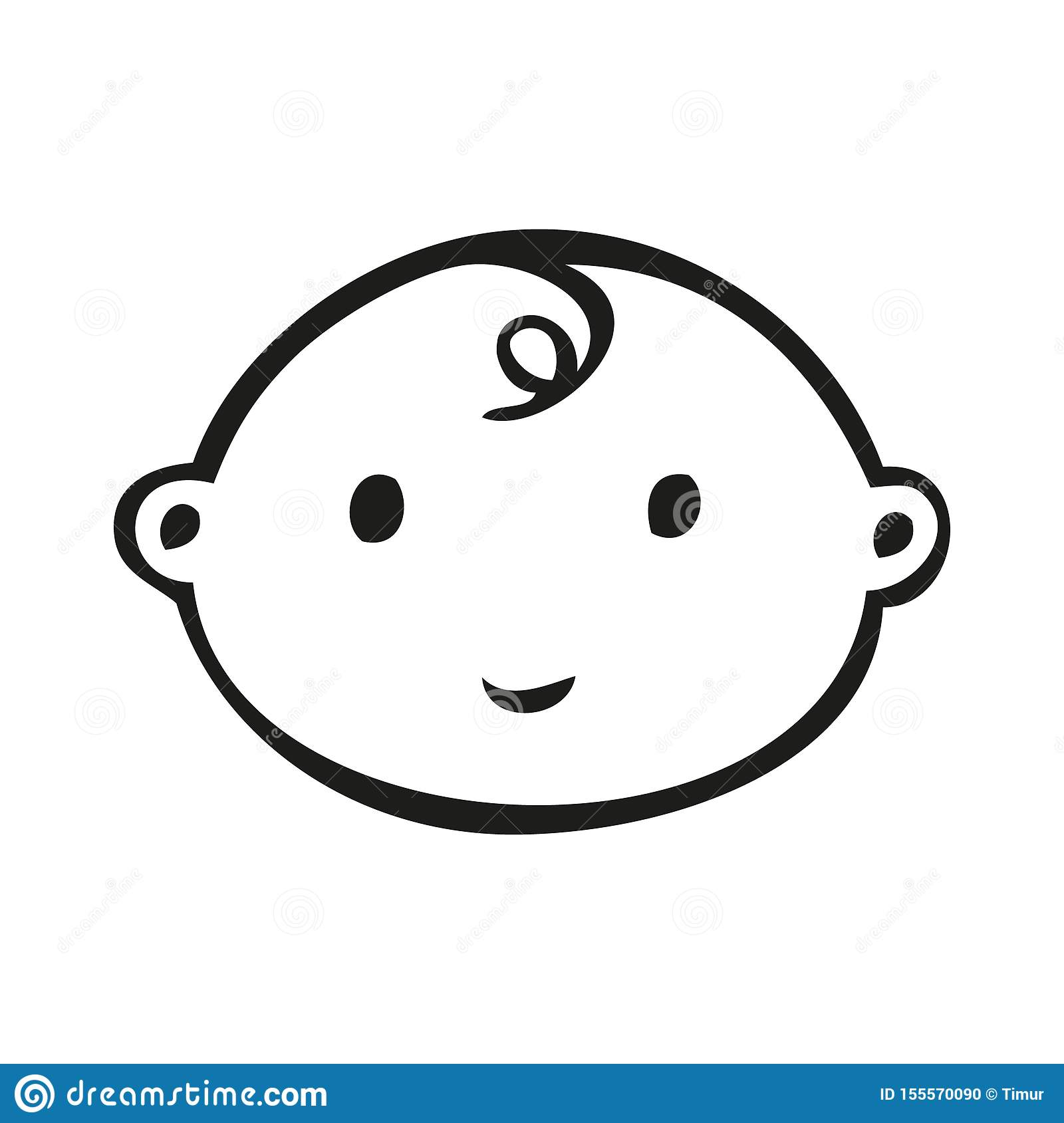 Smiling Line Art Baby Face With Downward Curl Stock Vector ...