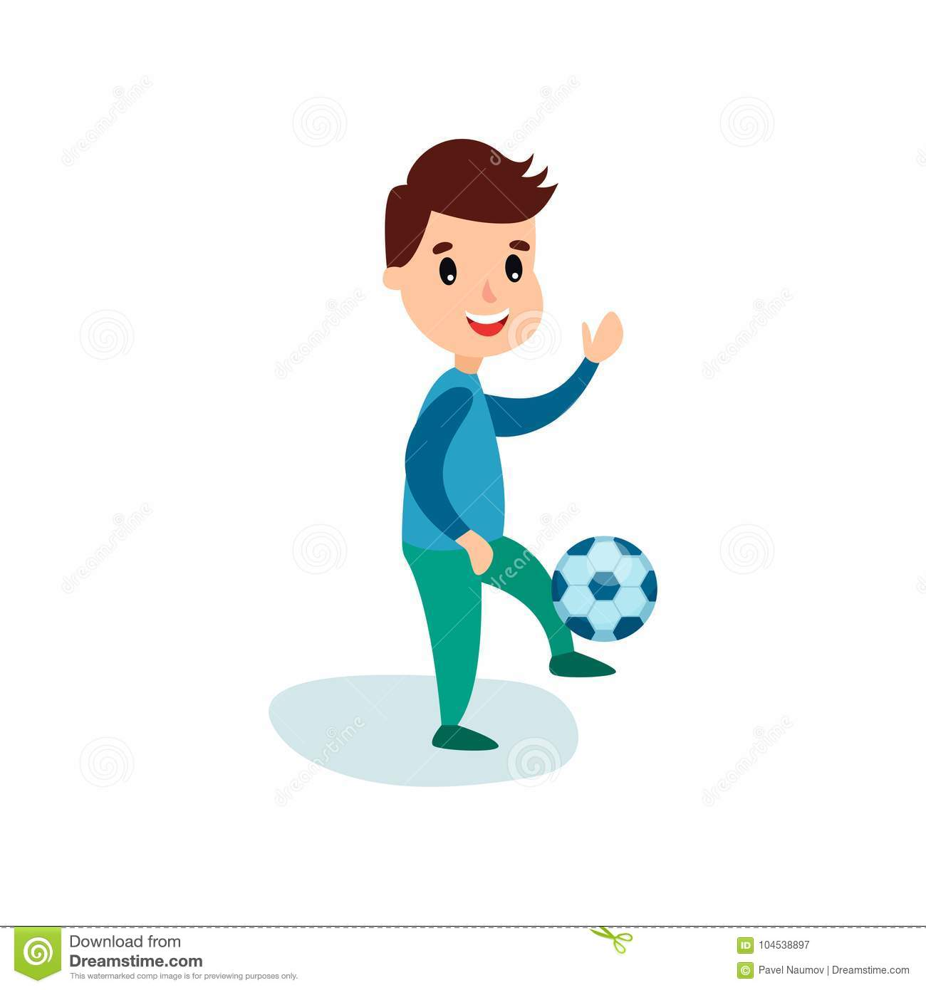 smiling little boy character kicking soccer ball, kids physical