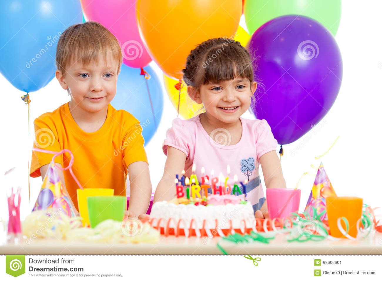 Enjoyable Smiling Little Boy And Girl With Birthday Cake And Color Ballons Personalised Birthday Cards Paralily Jamesorg