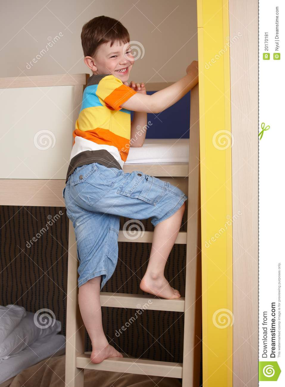smiling little boy going up the ladder of bunk bed stock Cartoon Girl Waking Up Girl Eating Breakfast Clip Art