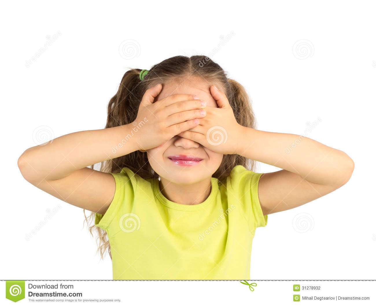 Smiling Little Girl Covering Her Eyes Stock Photography ...