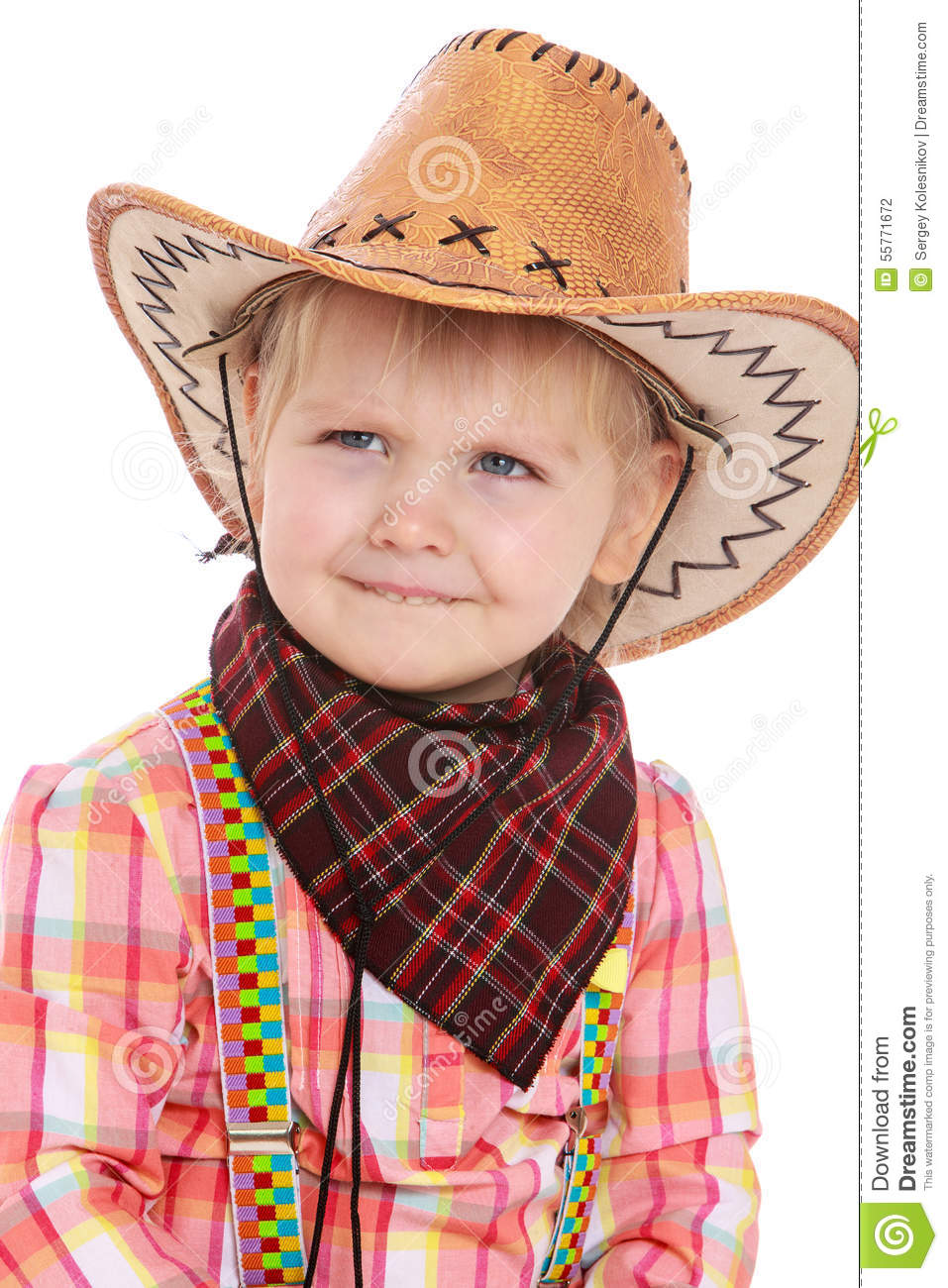 b102c6f0caac2 Smiling little girl in cowboy costume - isolated on white background