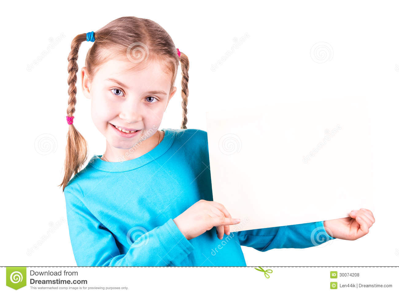 Smiling Little Girl Holding White Card For You Sample Text ...