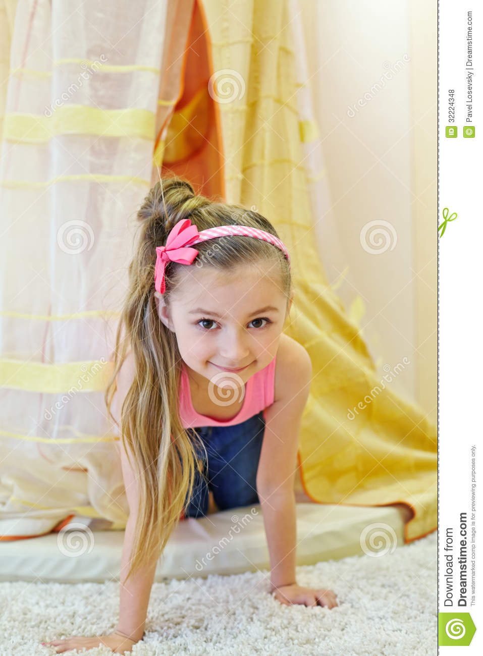Smiling Little Girl Look Out From Baldachin Royalty Free