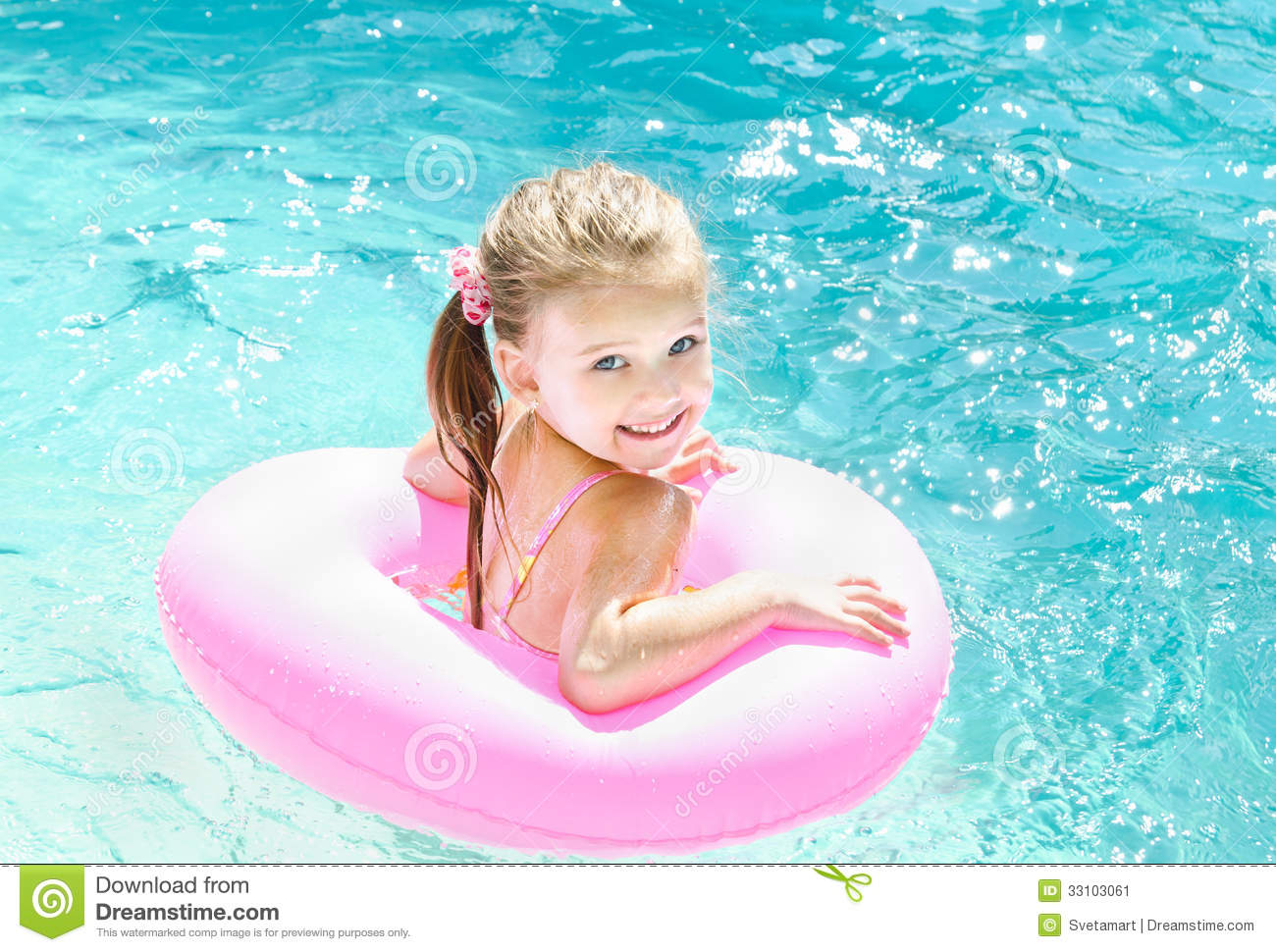 Smiling little girl in swimming pool stock image image for Cute pool pictures