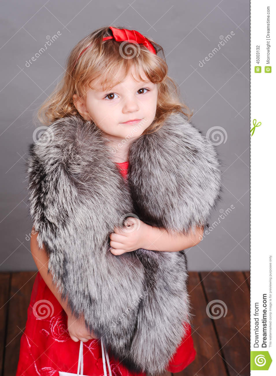 Smiling Little Girl Wearing Stylish Fur Clothes Stock Photo Image