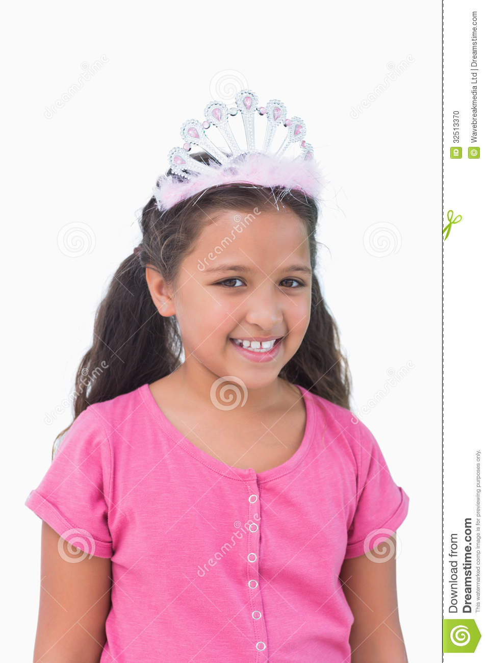 Smiling Little Girl Wearing Tiara For A Party Stock Photo