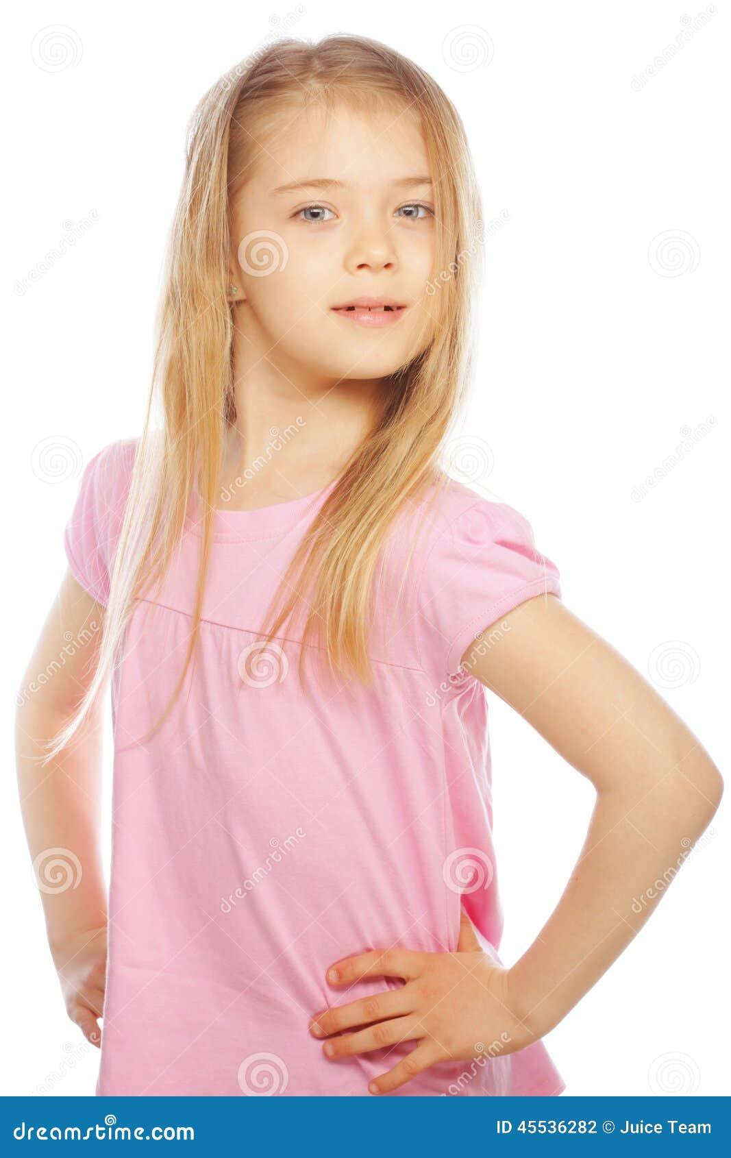 Smiling little girl on white background in studio