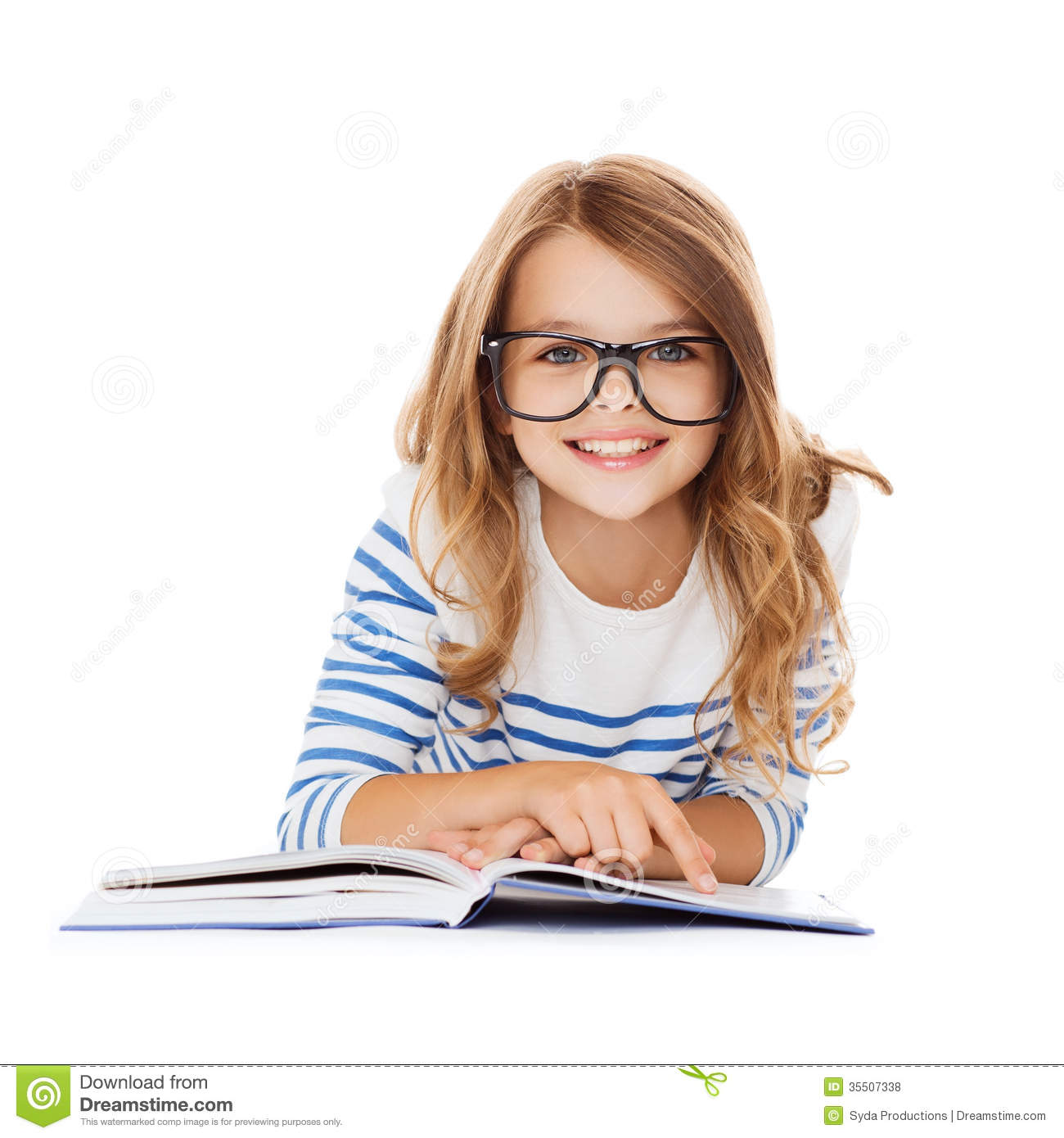 Education and school concept - smiling little student girl with book ...