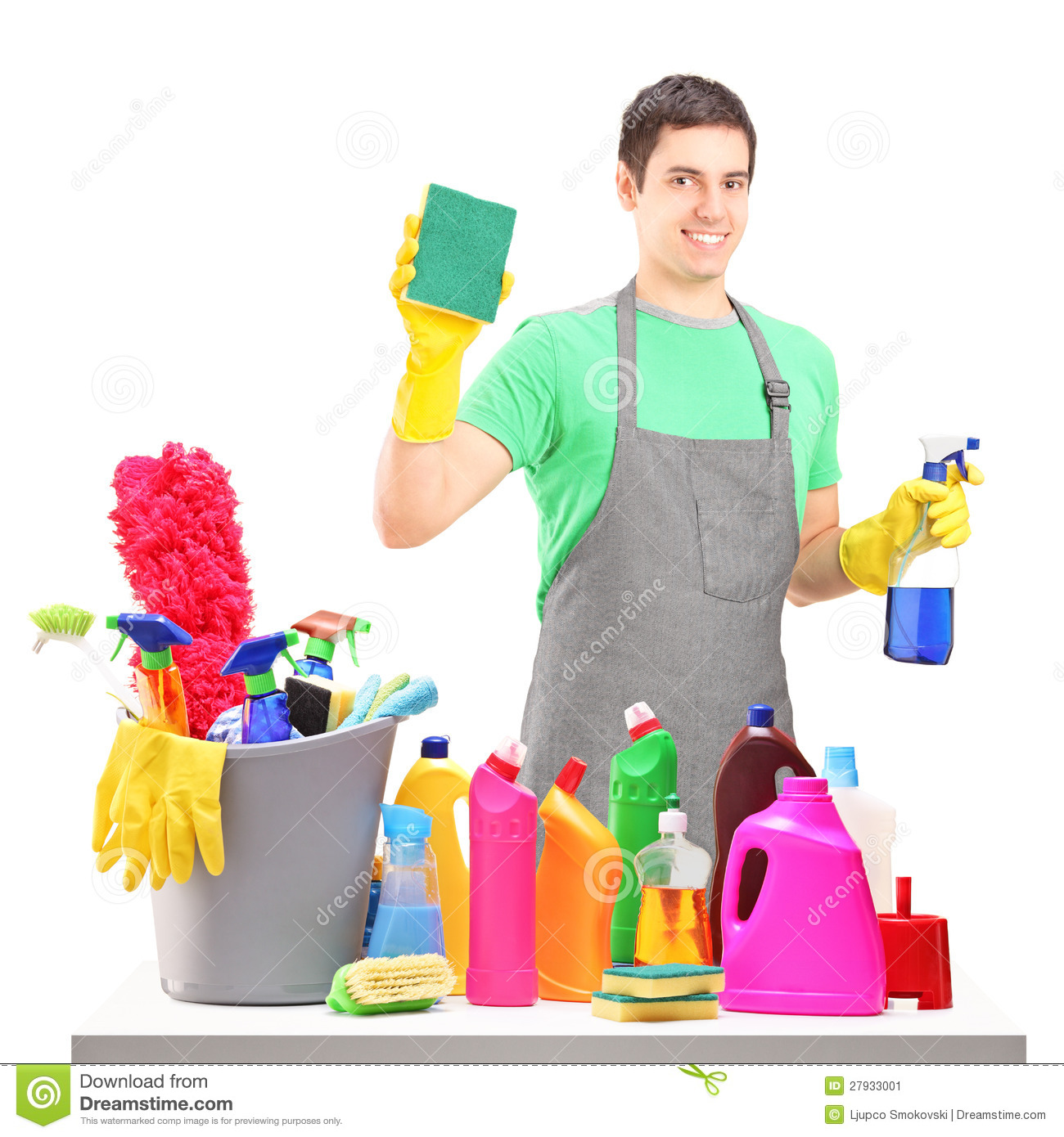 A smiling male cleaner with cleaning equipment stock image for Productos de limpieza