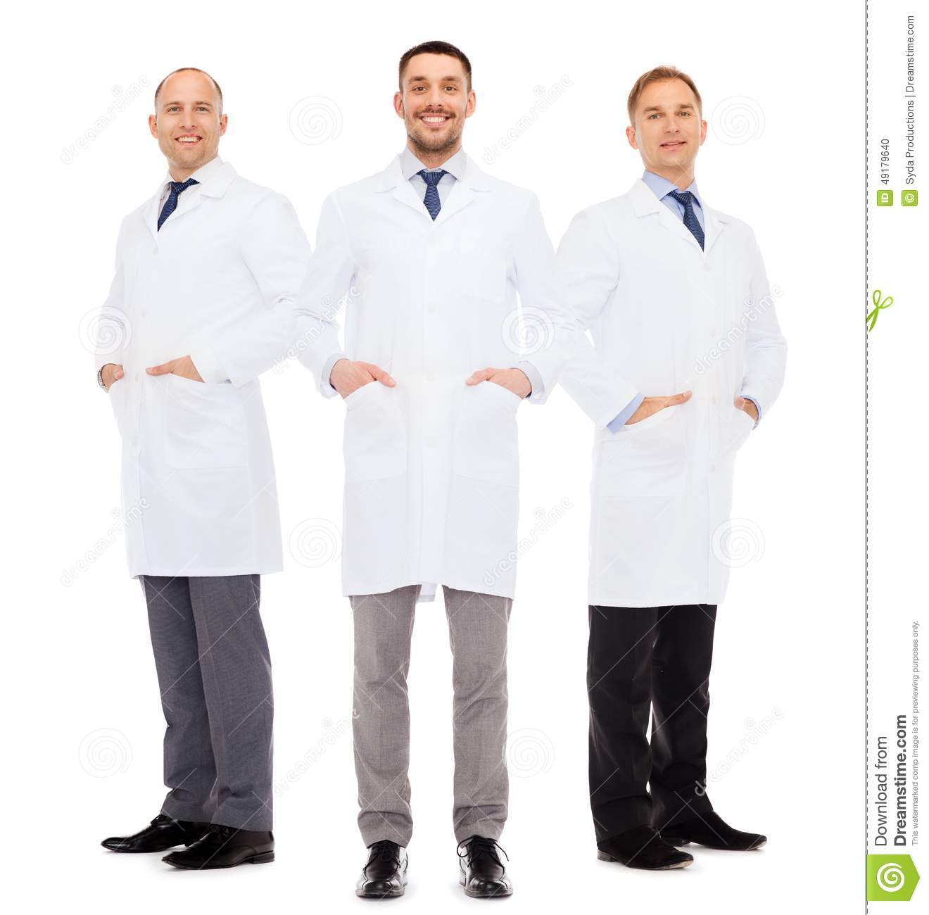 Smiling Male Doctors In White Coats Stock Photo - Image: 49179640