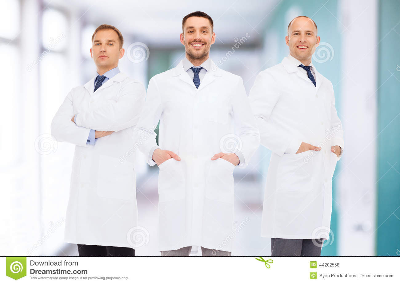 Smiling Male Doctors In White Coats Stock Photo - Image: 44202558