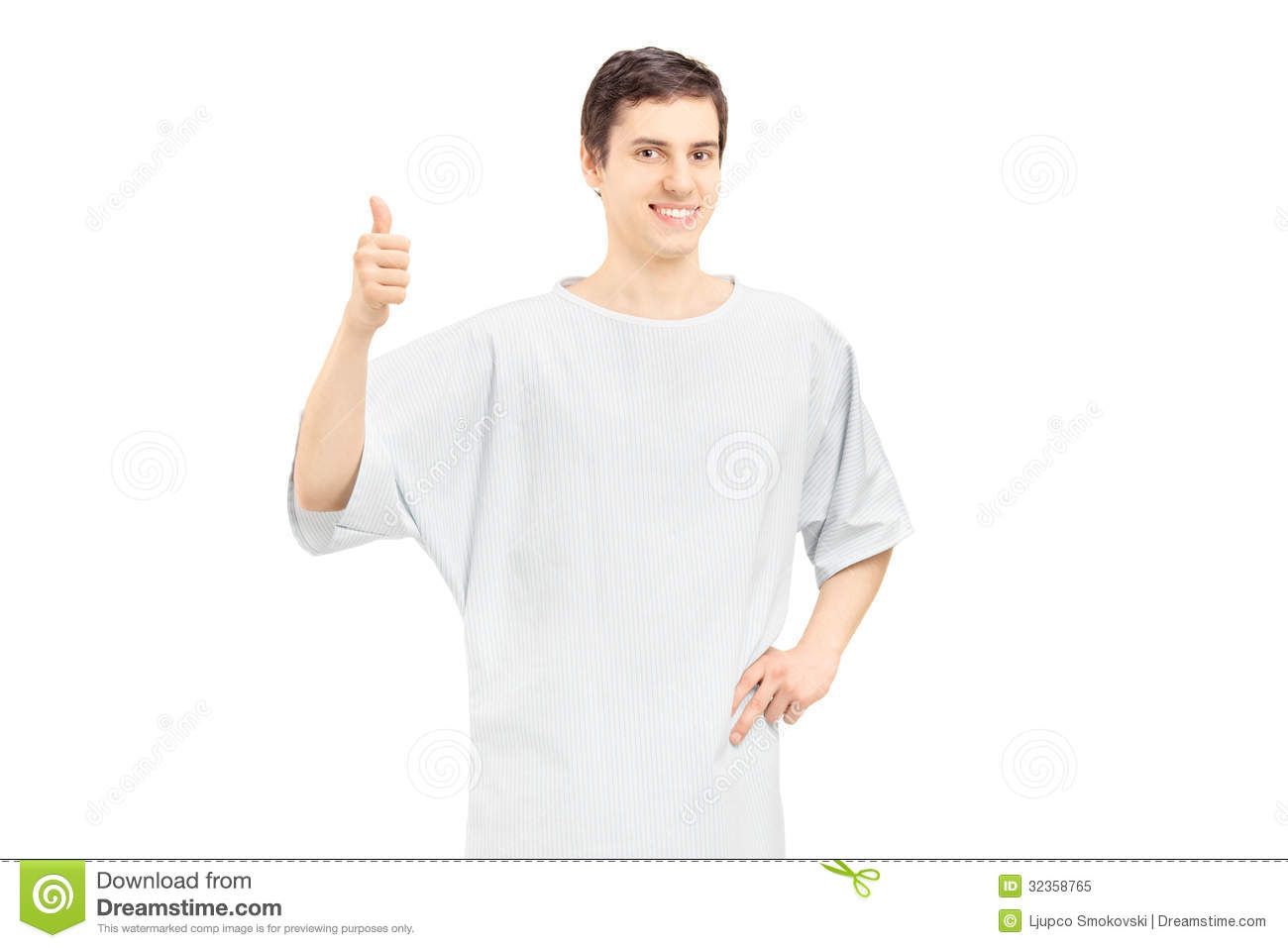 Smiling Male Patient Wearing Hospital Gown And Giving Thumb Up Stock ...