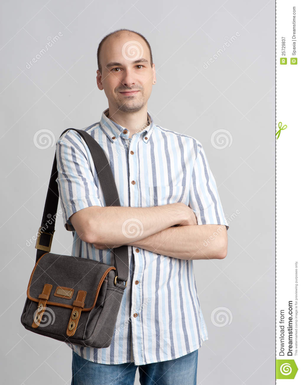 Smiling Man With Bag Royalty Free Stock Photography - Image: 25729837