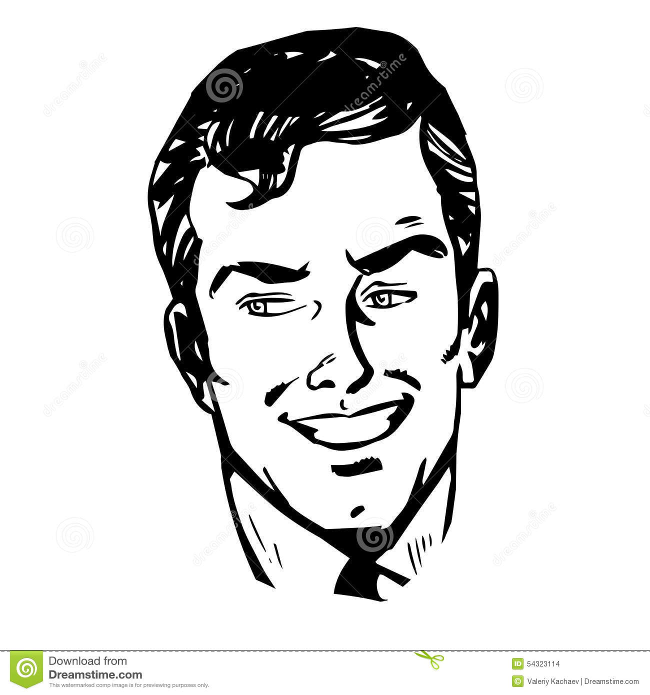 Line Drawing Smiling Face : Smiling man face retro line art stock illustration image