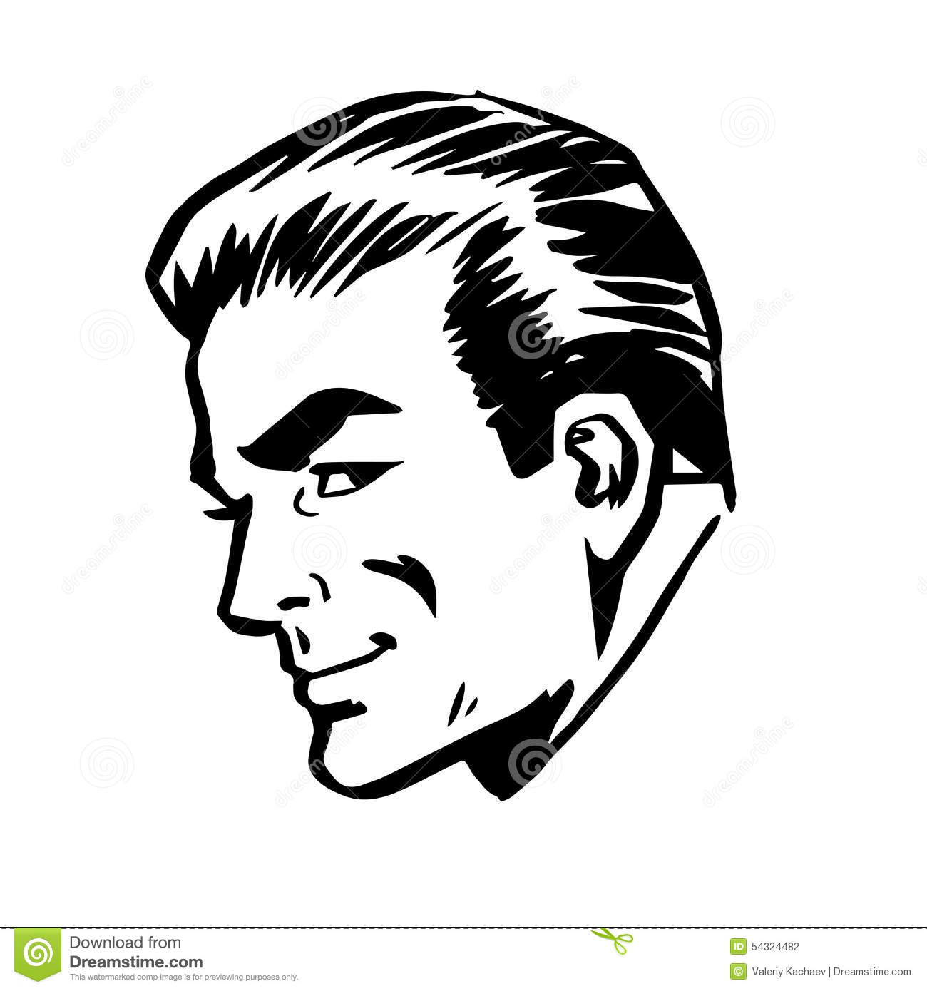 Man S Face Line Drawing : Smiling man head profile face retro line art stock