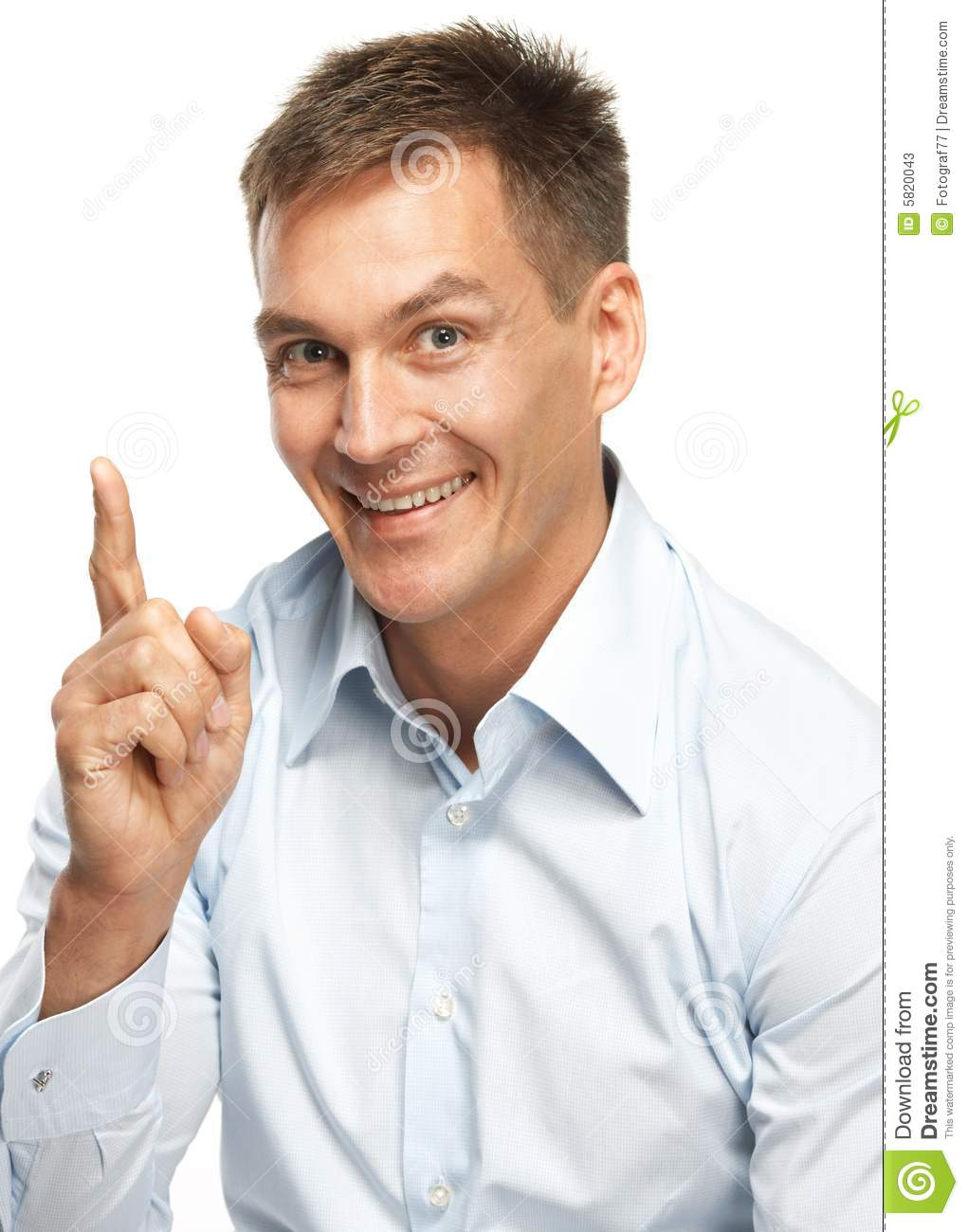 Smiling man making a point stock image. Image of hair ...