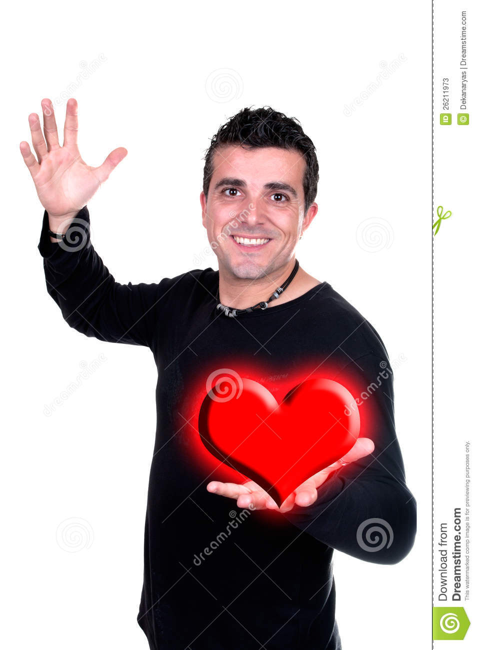 Smiling man with Valentin heart in hand