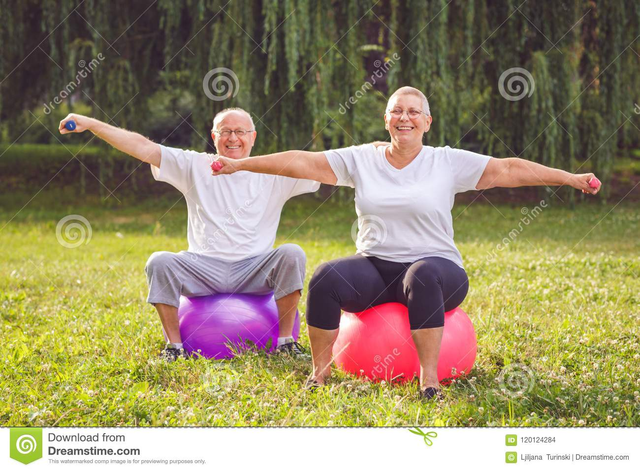 Mature couple doing fitness exercises on fitness ball in park