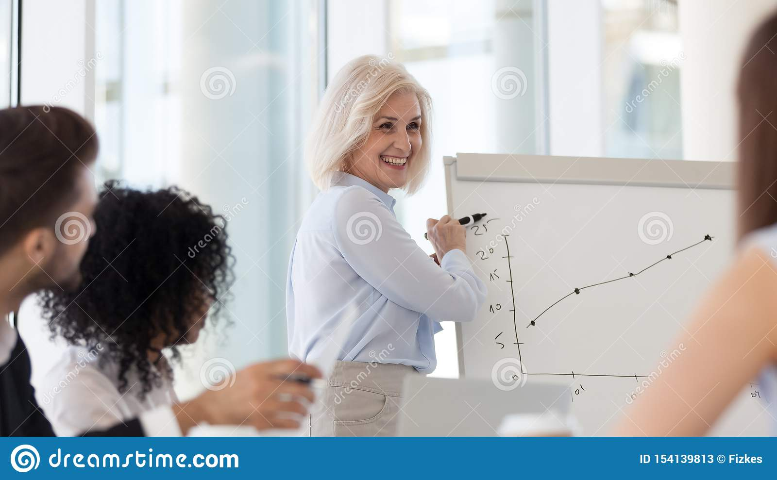 Smiling middle-aged female coach presenting business plan on flipchart