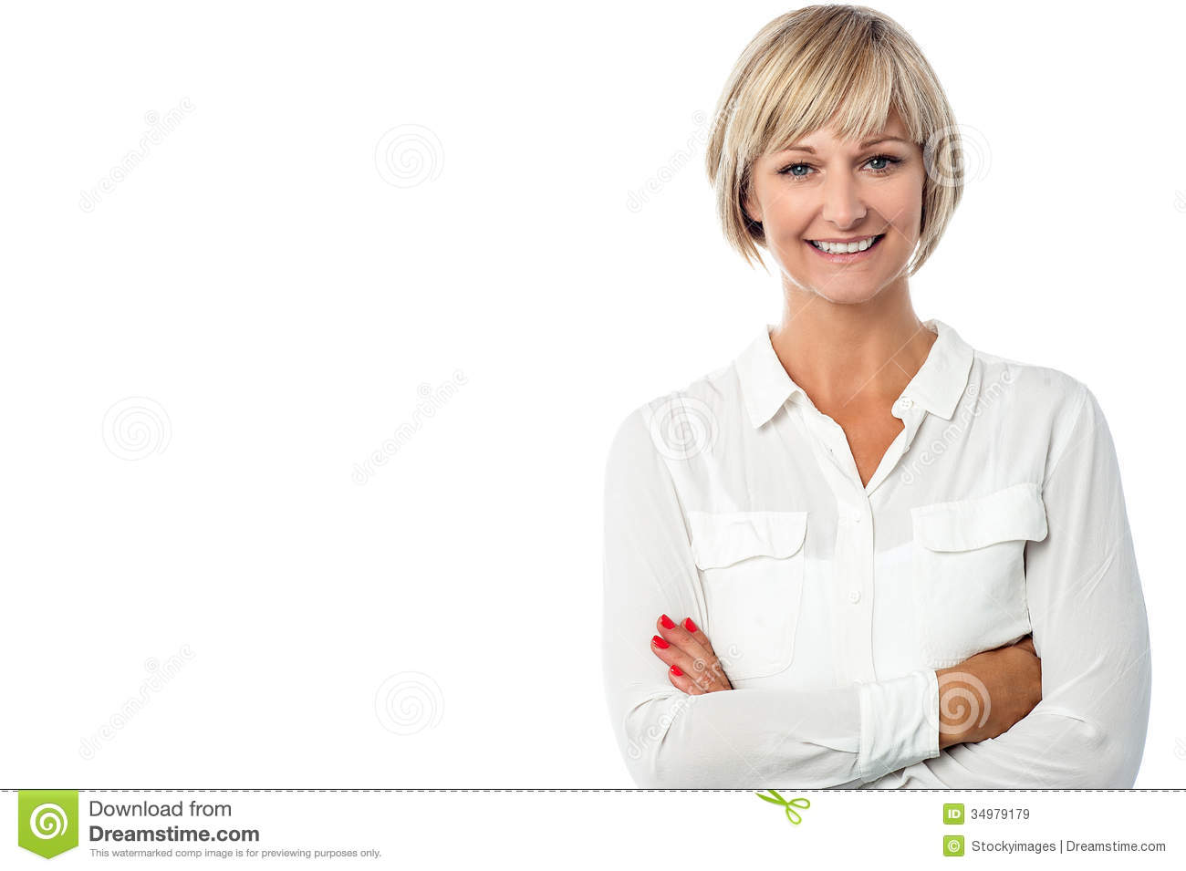 Smiling middle aged lady, arms crossed.