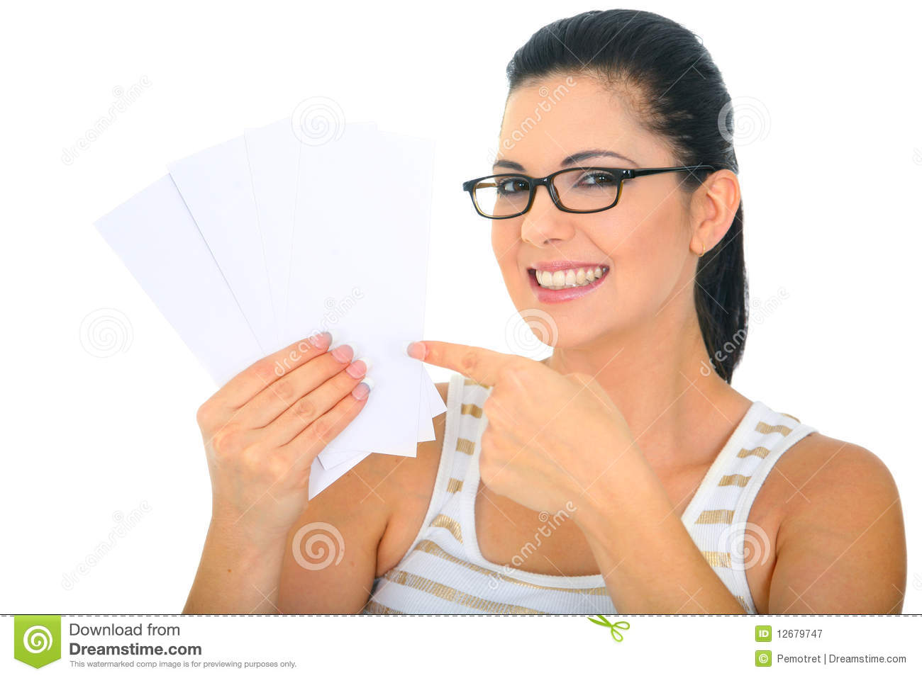 Smiling Mom Pointing To Blank Cards