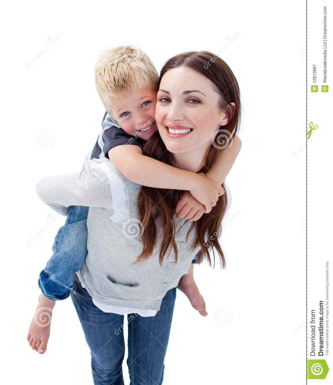 Smiling Mother Giving Her Son Piggyback Ride Stock Image