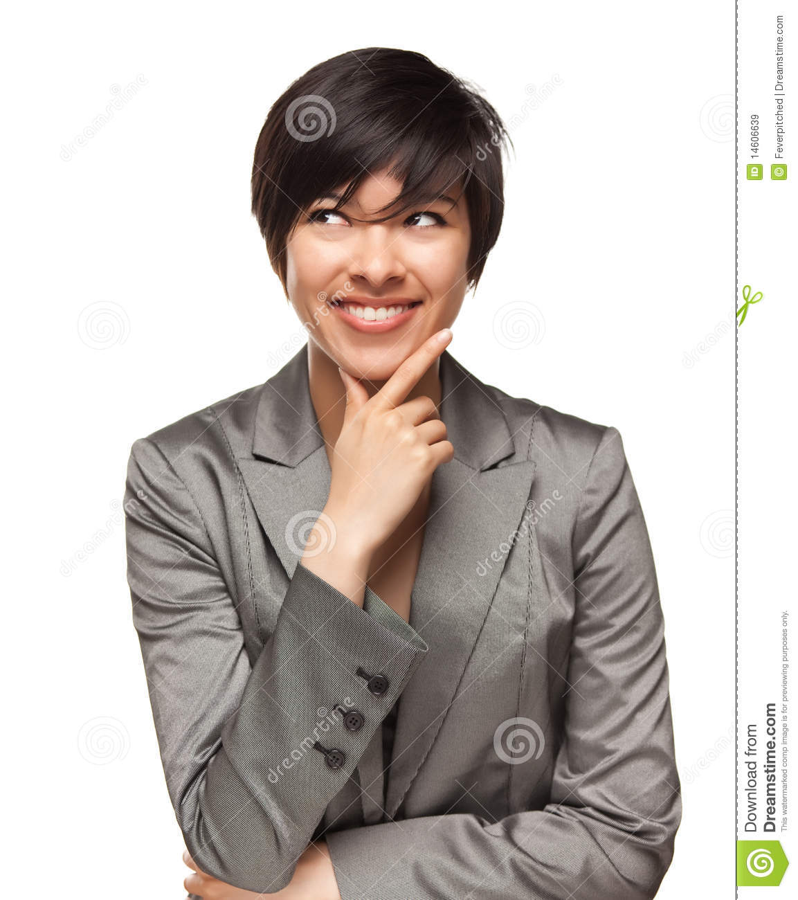 Smiling Multiethnic Young Adult Woman on White