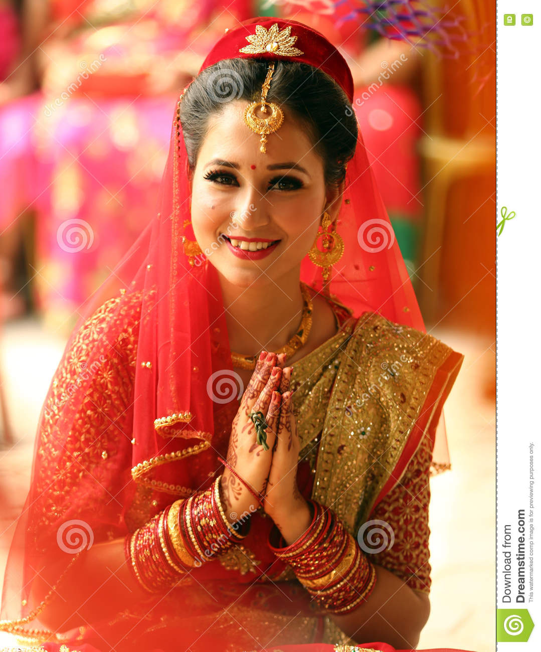 Smiling nepali bride stock image image of hands for Wedding dress nepali culture