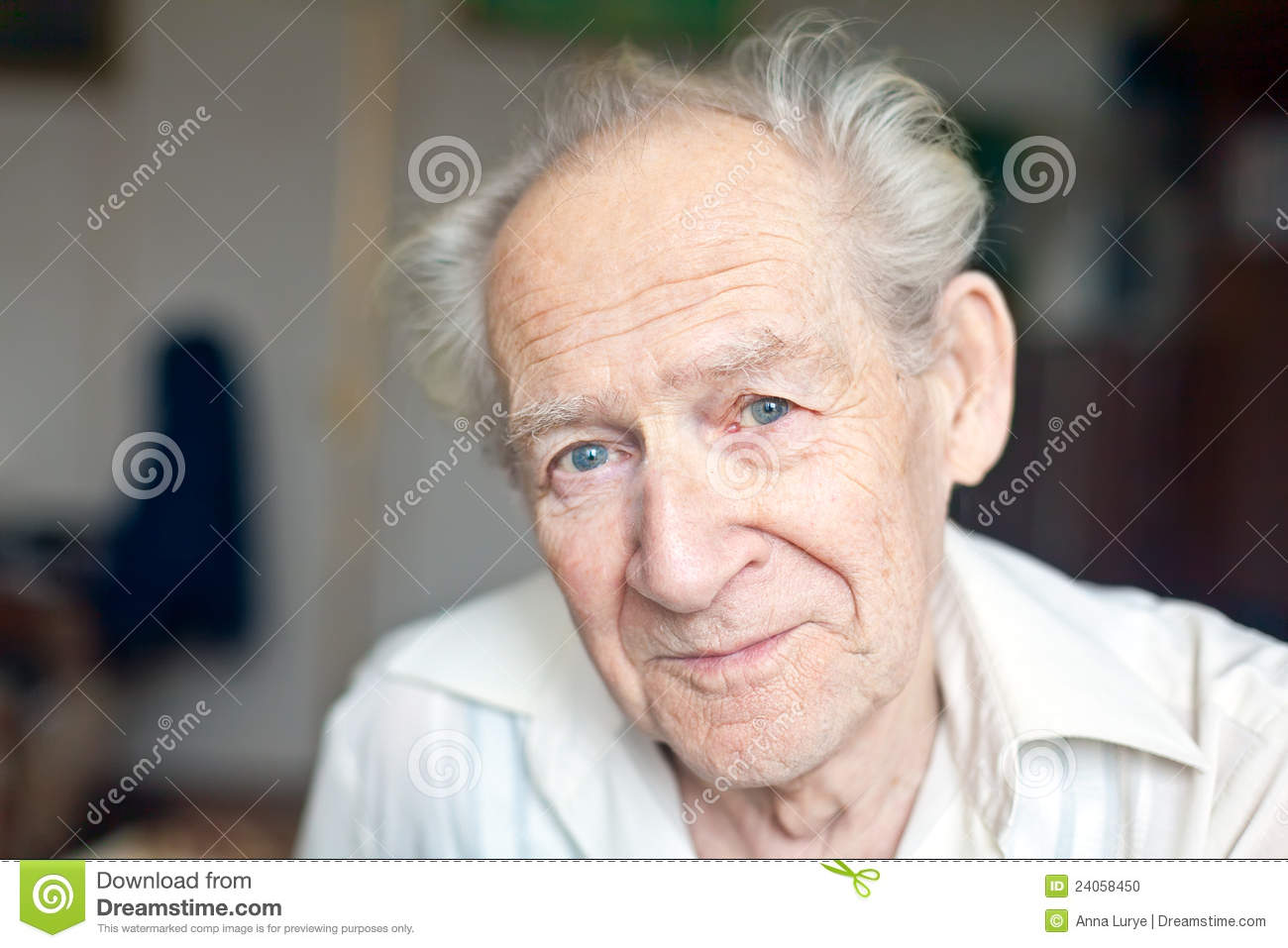 Face portrait of a cheerful smiling senior man Old Man Face Smiling