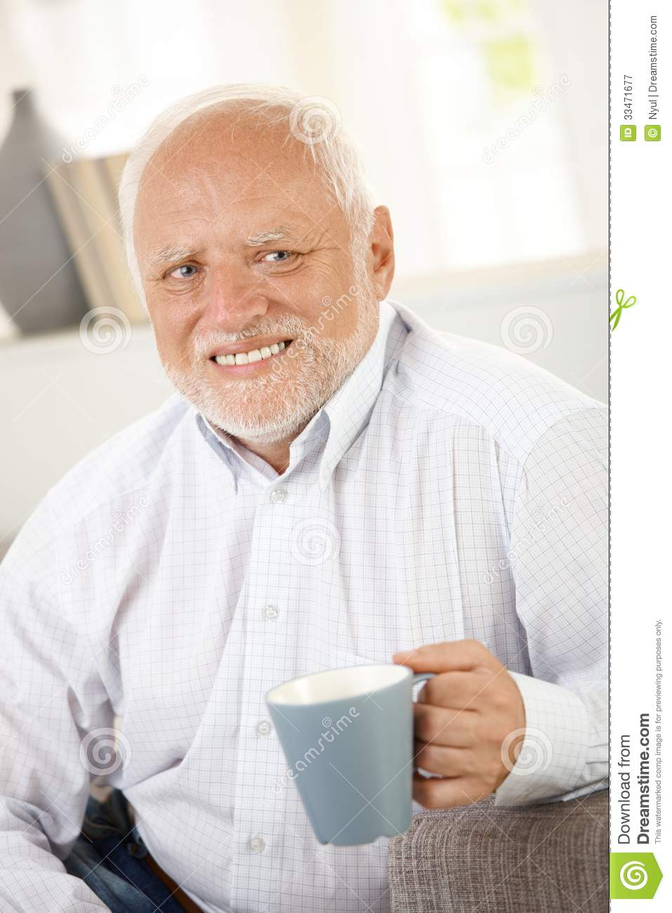 Smiling Old Man Having Coffee Stock Image Image Of Good Coffee