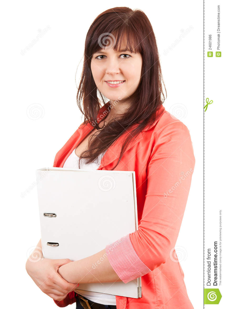 smiling overweight student girl with binder royalty free stock image