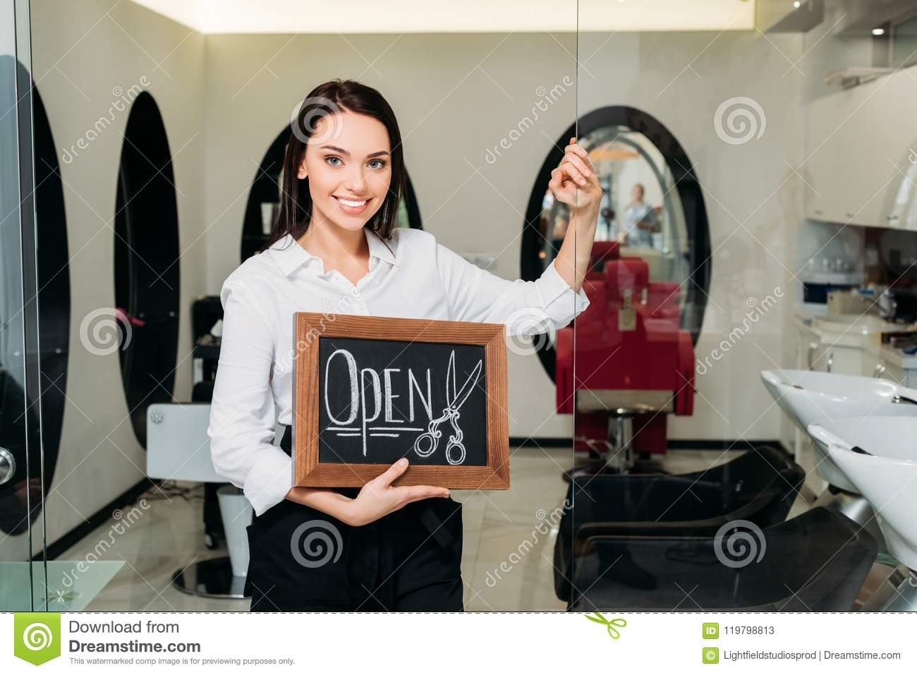 Smiling Owner Of Hair Salon Standing With Sign Open And Leaning Stock Image Image Of Glass Camera 119798813