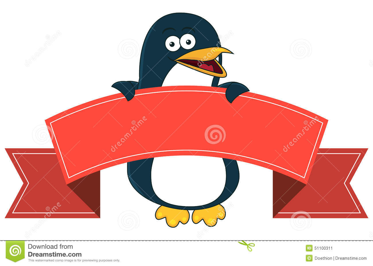 Smiling Penguin Cartoon With Blank Banner For Text. Stock ...