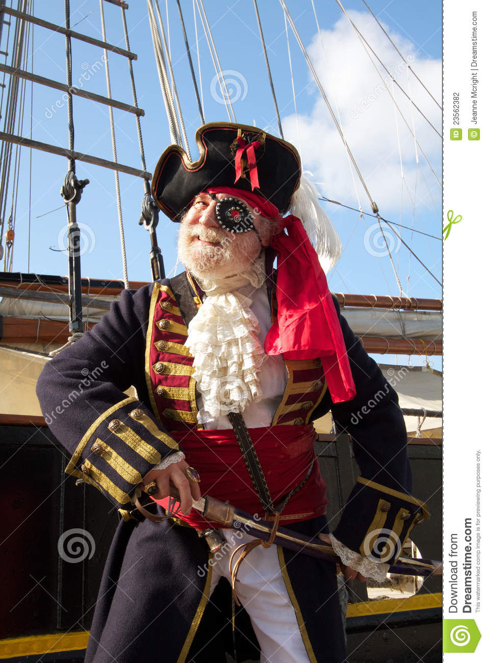 Smiling Pirate With Pirate Ship Stock Photo Image Of