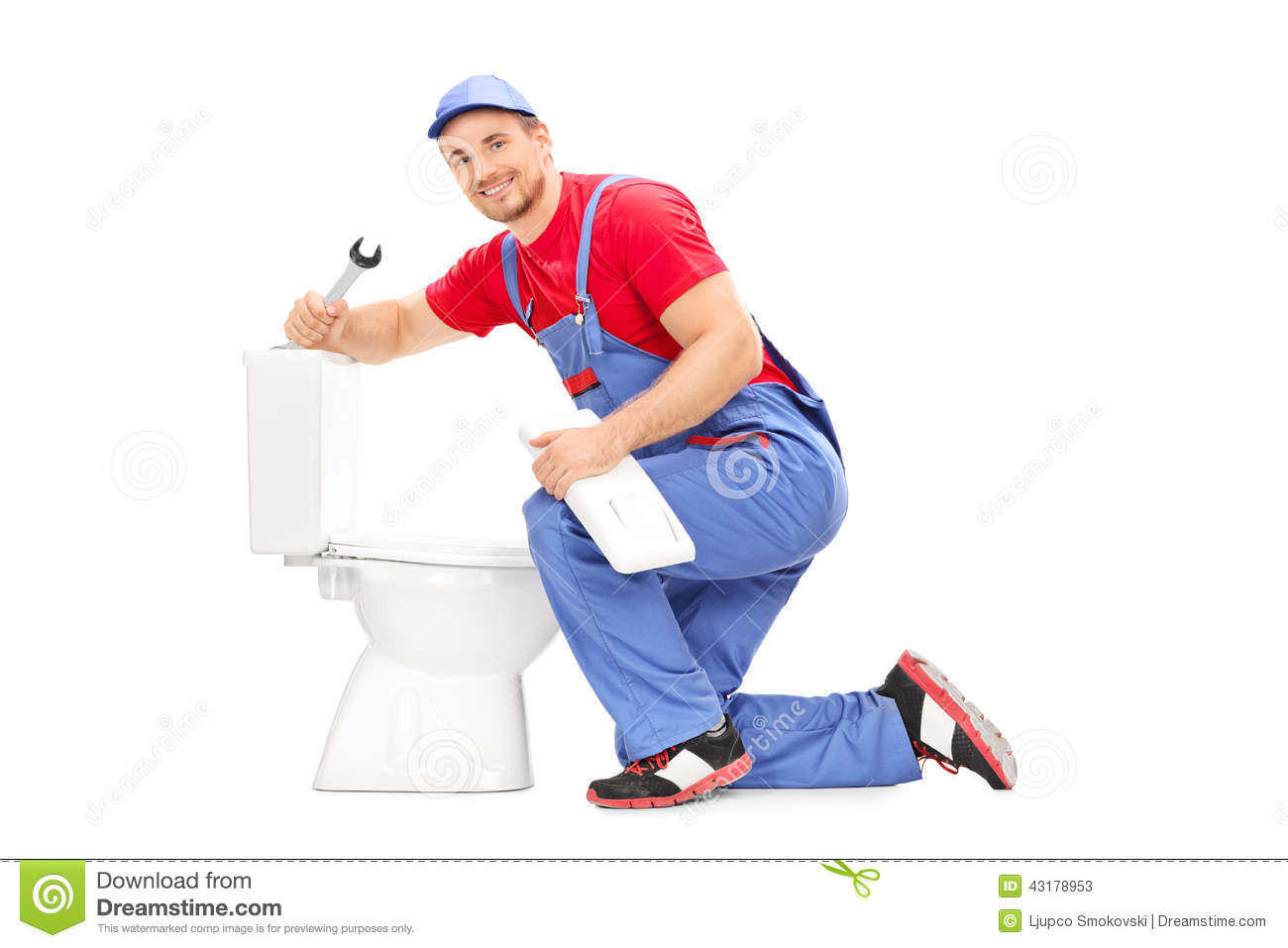 Smiling Plumber Trying To Fix A Toilet Stock Image - Image of ...