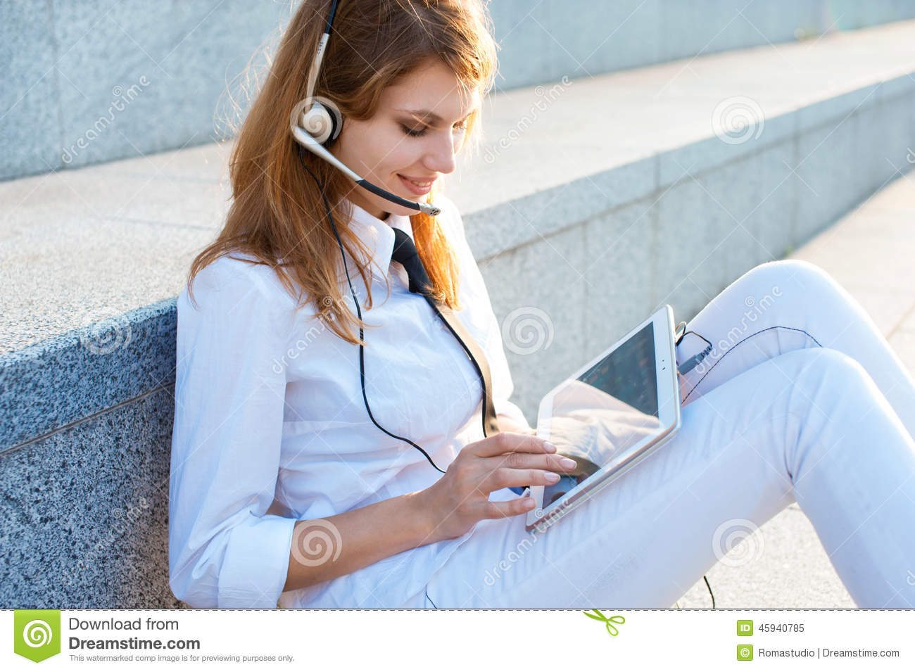 Smiling Pretty Business Woman With Headset Stock Photo ...