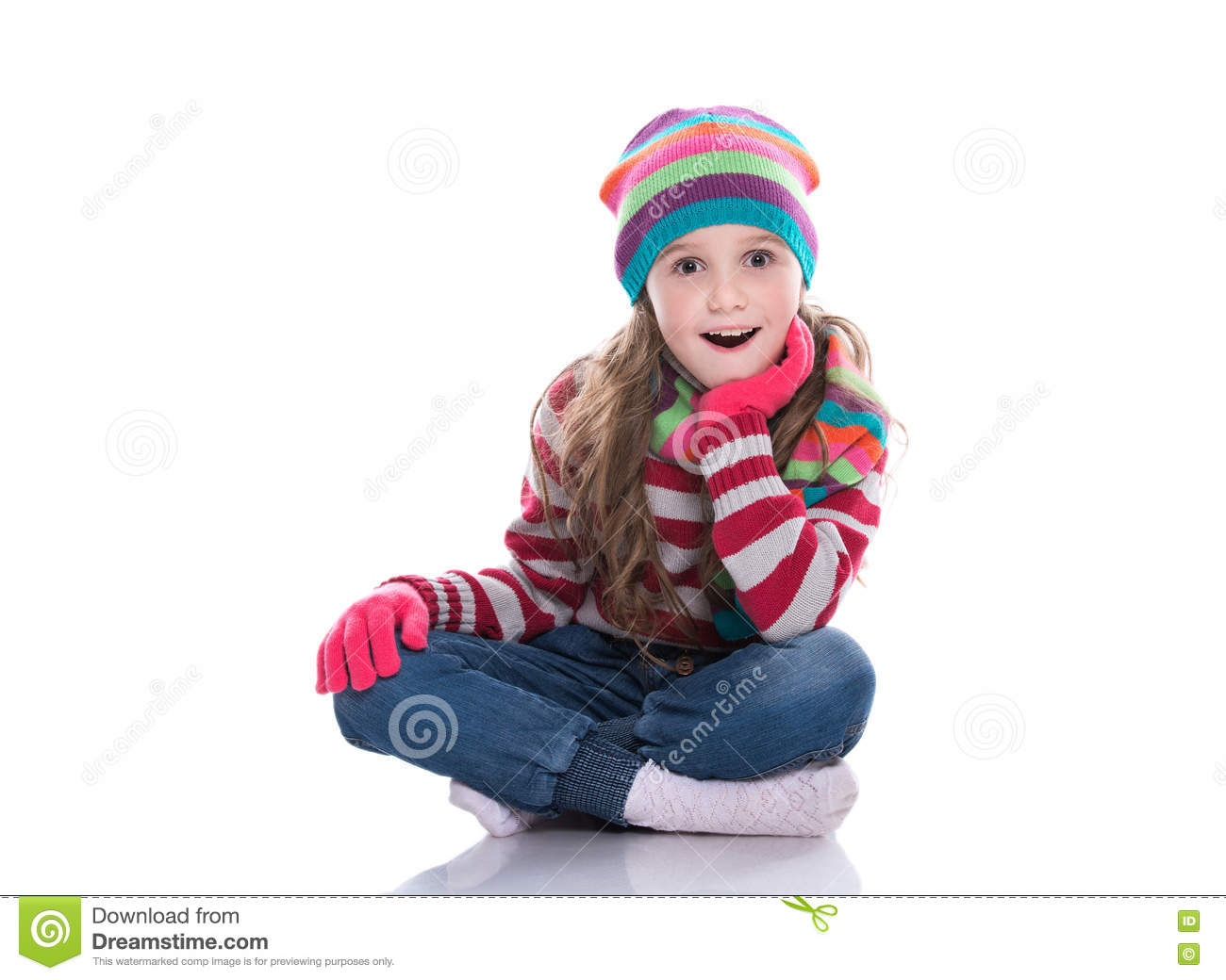 e31439d3c Smiling Pretty Little Girl Wearing Colorful Knitted Scarf