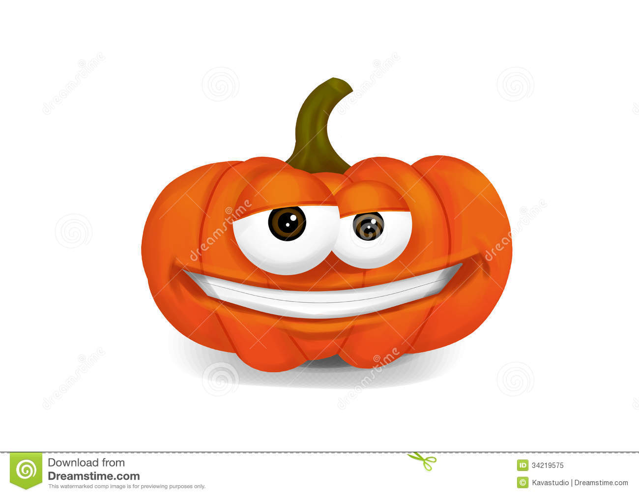 Cool pumpkin cartoon character smiling on a white background.