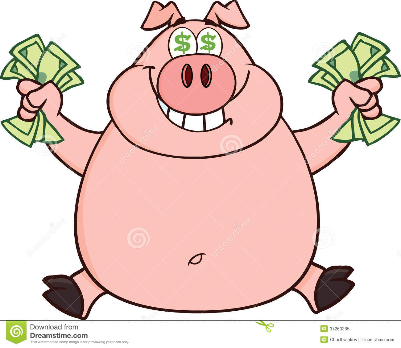 smiling rich pig with dollar eyes and cash jumping stock bank clip art for free bank clipart black & white