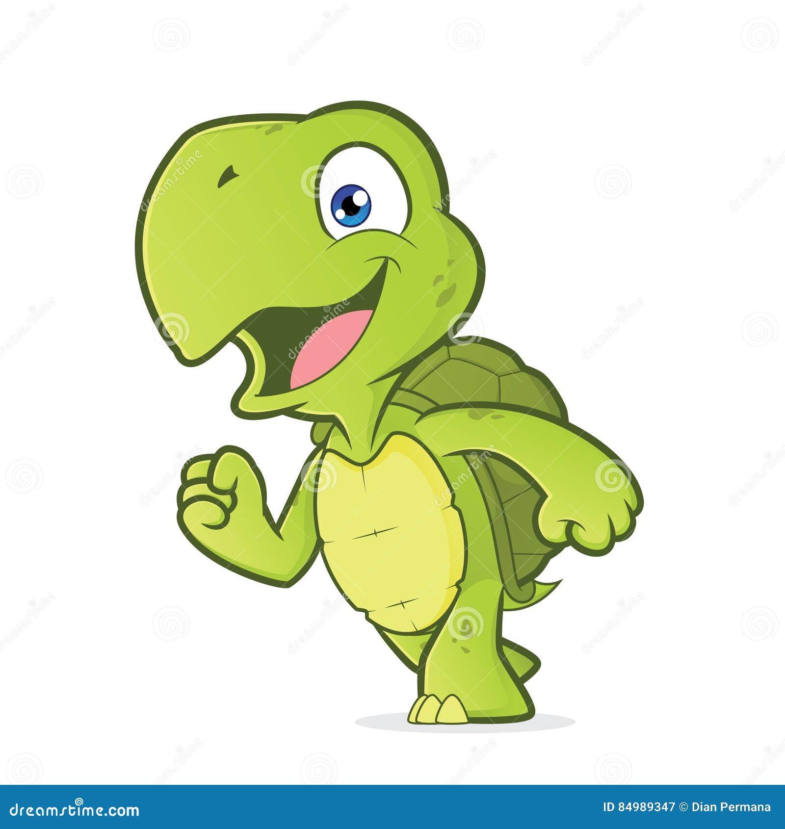 Smiling running turtle stock vector. Illustration of ...