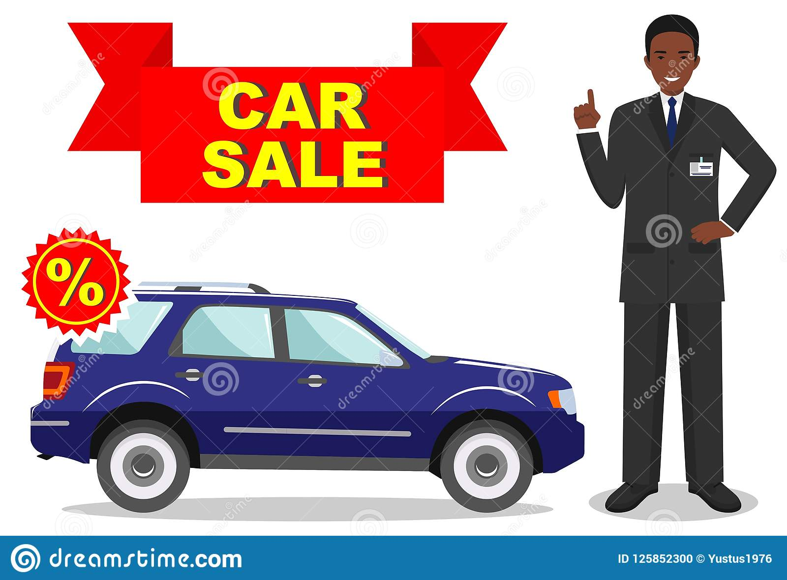 Big Blue Auto >> Car Showroom Big Sale Manager Sells New Automobile