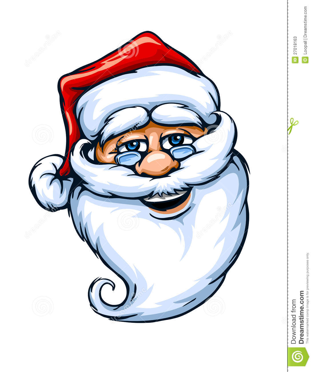 Smiling Santa Claus face vector illustration isolated on white ...