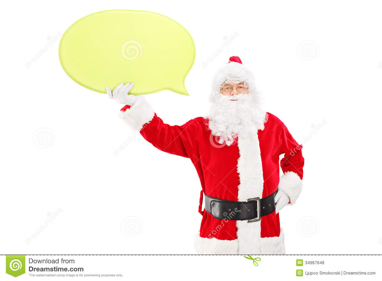 Smiling Santa Claus holding a speech bubble and looking at camera