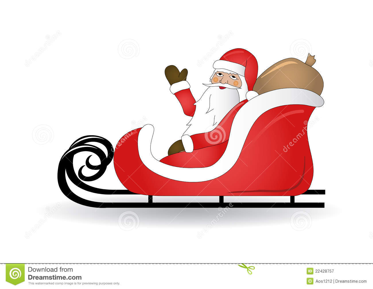 Smiling Santa Claus With Sled Royalty Free Stock Photography - Image ...