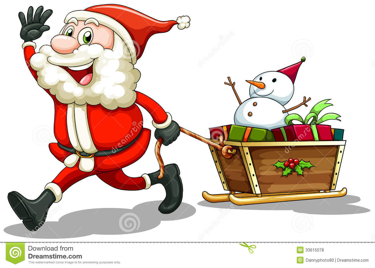 a smiling santa pulling a sleigh stock vector illustration of