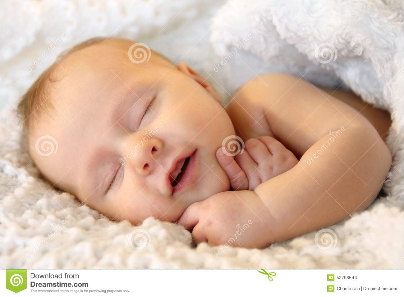 Smiling Sleeping Newborn Baby Girl Wrapped In White Blanket Stock Photo Image Of Hands Rest 52798544