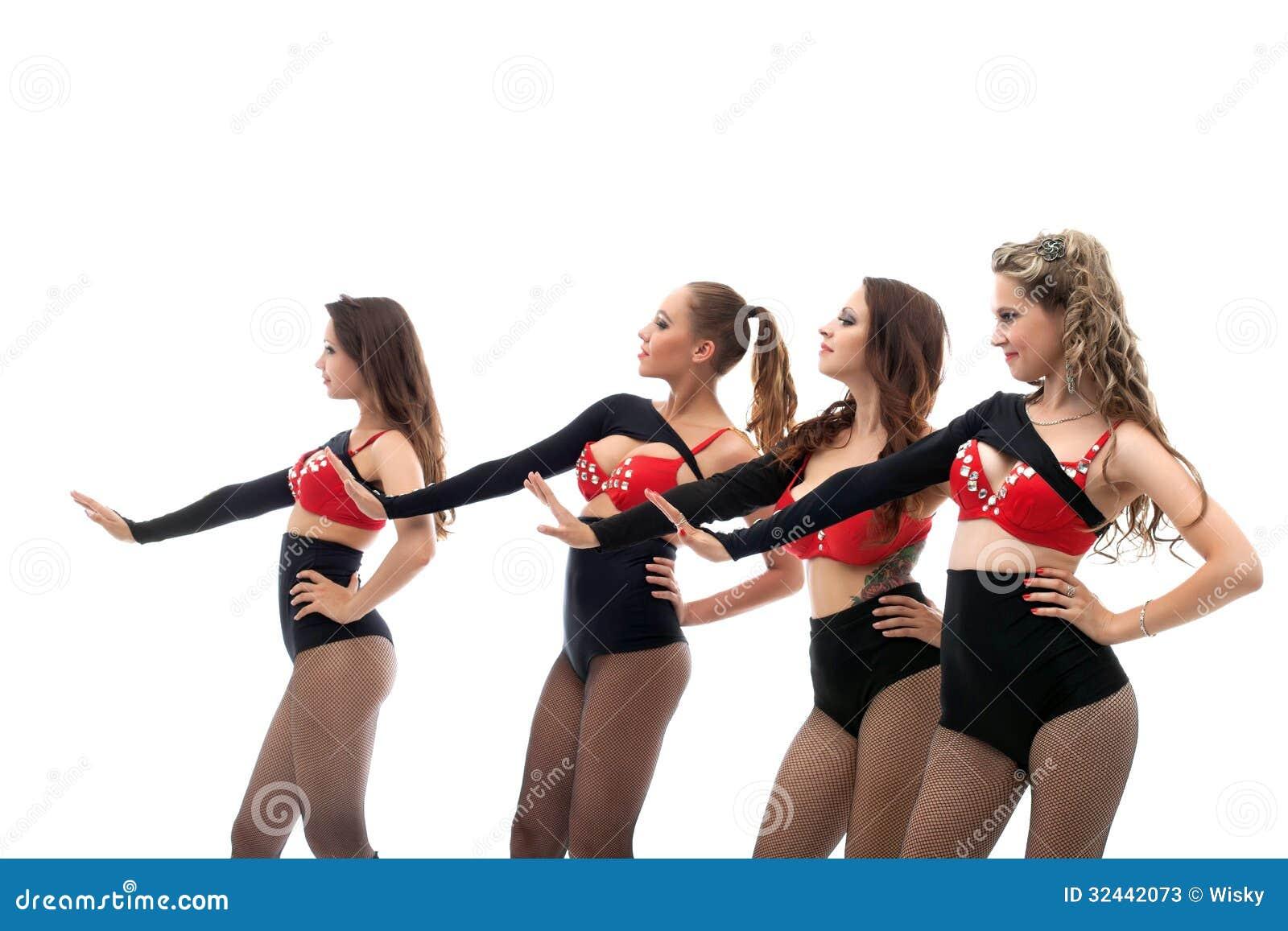 Smiling Slim Go-go Dancers Isolated On White Stock Image..