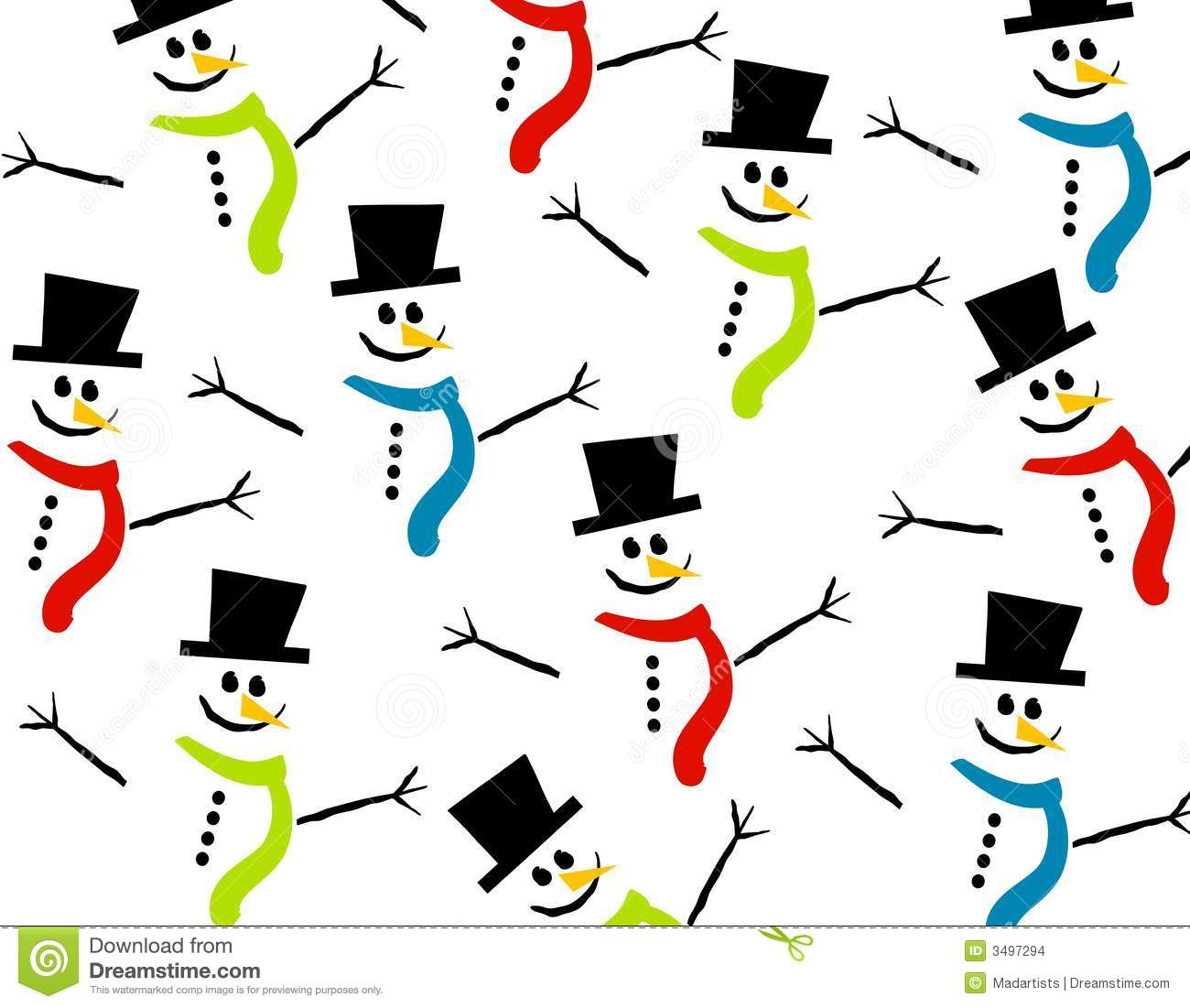 ... arranged snowmen figures wearing hats and scarves in different colors